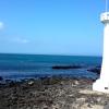 済州牛島 白い灯台と蒼い海.